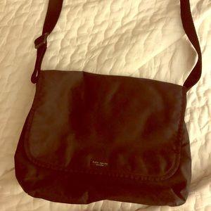 1990's Kate Spade black nylon messenger bag